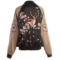 Indie Designs Deer Embroidered Bomber Jacket