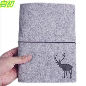 A5 A6 Deer loose leaf refillable wool felt spiral Weekly Planner notebook Cover filofax memo travel journal diary notepad