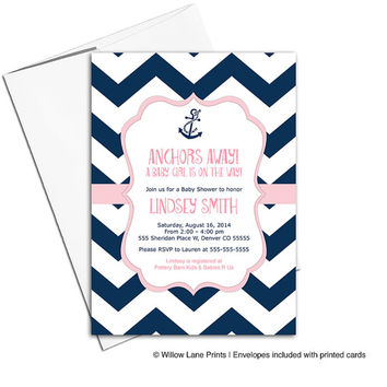 baby girl baby shower invitations nautical theme | navy and pink baby shower invites with anchor | printable or printed - WLP00793