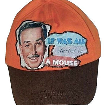 Disney Walt Photo & It All Started with a Mouse Quote Orange Baseball Hat