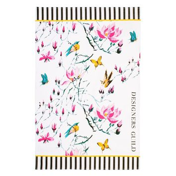 Designers Guild Madame Butterfly Peony Tea Towel