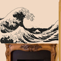 Wall Decal Vinyl Sticker Decals Art Decor Design Waves Ocean Big Sea Nature Salior Anchor Beautiful View Bedroom Dorm (r479)