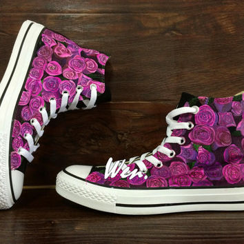 WEN Original Design Purple Floral Converse Floral Shoes Hand Painted Shoes,Purple Converse,Custom Floral Art Best Christmas Gifts