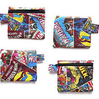 Marvel Comics Wallet Zipper Coin Purse Superhero Change Zip Pouch Soft Cotton