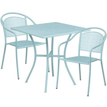 28'' Square Sky Blue Indoor-Outdoor Steel Patio Table Set with 2 Round Back Chairs
