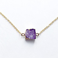 Purple Small Druzy, 18kt Gold Necklace, Purple Druzy Necklace, Square Druzy, Drusy, For Her, Tiny Druzy, Dainty, Amethyst Stone, Jewelry