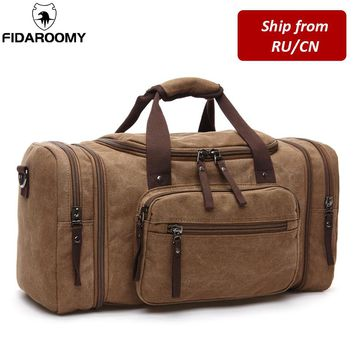 Men Travel Bag Canvas Multifunction Leather Bags Carry on Luggage - Weekend Overnight Bag