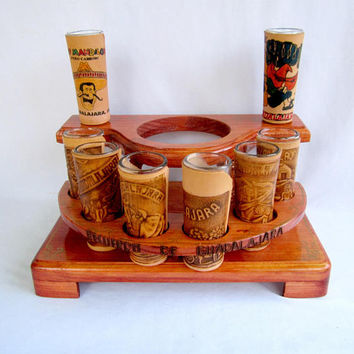 Mexican Shot Glasses Hand Tooled Leather Shooters Set Barware Mancave