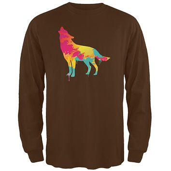 Splatter Wolf Brown Adult Long Sleeve T-Shirt