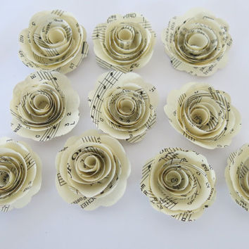"set of 10 sheet music roses, 1.5"" paper flowers set, music lover gift idea, locker decorations, bridal and baby shower decor, wedding art"