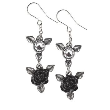 Alchemy Gothic  Ring 'O Black Roses Earrings