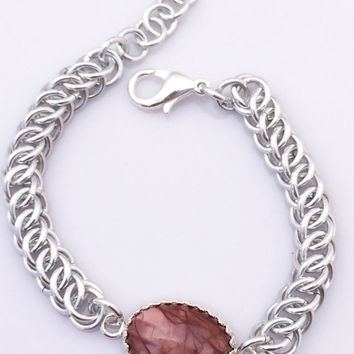 Burgundy and Mauve Imperial Jasper Cabochon and Silver Chainmaille Bracelet -- Product B010