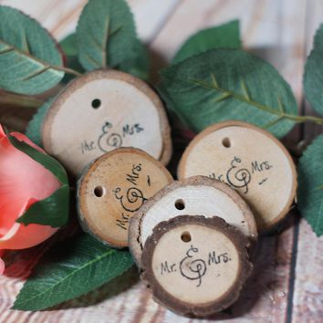 Mr and Mrs Ornaments, Wood Slice Ornament