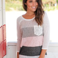 Ivory And Pink 3/4 Sleeve Top with Crochet Pocket