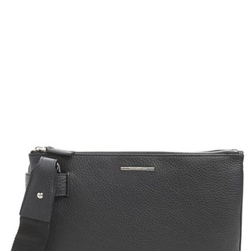 Men's Ermenegildo Zegna Leather Messenger Bag - Black