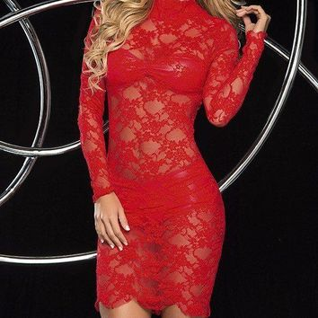 Slinky Red Lace Dress