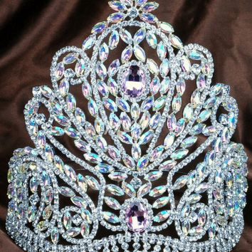 "Deluxe 9"" Large Tiara Handmade Bridal Crown Pink&Clear Austrian Rhinestones Diamante Headpiece Beauty Pageant Party Costume"
