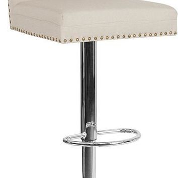 Ravello Contemporary Adjustable Height Barstool with Accent Nail Trim