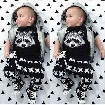 New boy fashion clothing set cotton suit black fox with a short sleeve shirt+pants Baby Clothes children's clothing