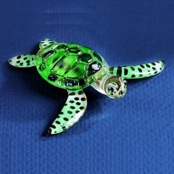 Glass Baron Sea Turtle Figurine w/ Swarovski Elements