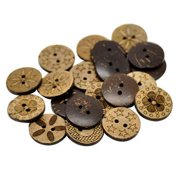 50pcs 2H 20L- 28L mixed Natural coconut button Assorted Sewing Accessories Wooden Laser Buttons DIY Scrapbooking accessories