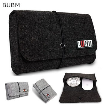 Brand BUBM Digital Storage Bag, Wool Felt  Bag Pouch For Macbook Laptop Adapt And Mouse Case, 4 Colors Free Drop Shipping.