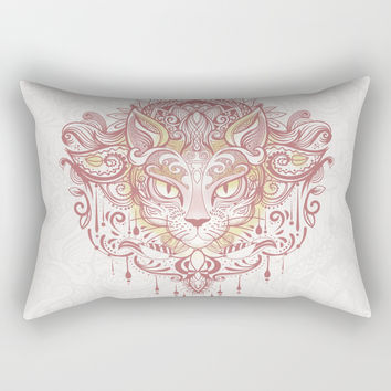Cat mandala Rectangular Pillow by printapix