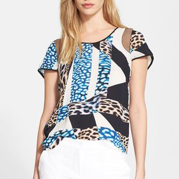 Women's Trina Turk Animal Print Mesh Inset Top,