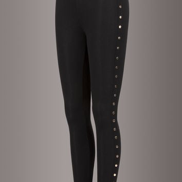 Night Crawler Leggings with Gold Colored Studs