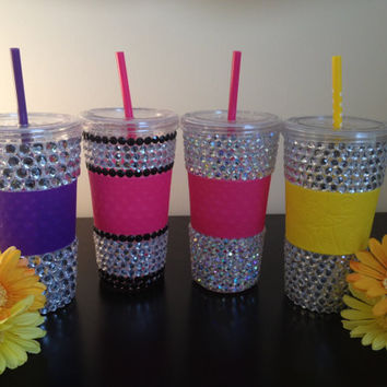 RHINESTONE BLING Tumbler Cup with Straw