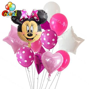 11pcs/lot Minnie Mickey Mouse head Baby 1 2 3 year Birthday Decoration Party supplies Dot latex Balloon star heart Foil Balloons