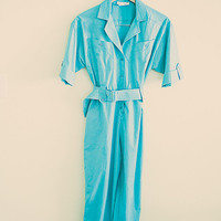 80s Jumpsuit Turquoise Aqua Blue  Hipster 80's Belt Front Pockets and V -Neckline Pants  Jumpsuit Rompers Petite