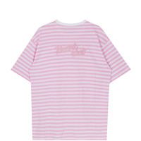 HEART CLUBBack Lettering Embroidery Striped T-Shirt | mixxmix