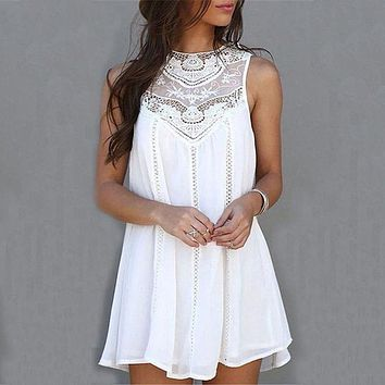 Women Summer Dresses White Lace Mini Dresses Casual Vintage Beach Sun Dress