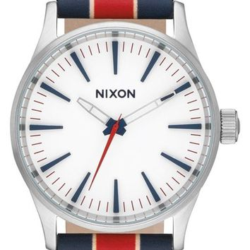 Nixon 'Sentry' Stripe Canvas Strap Watch, 38mm | Nordstrom
