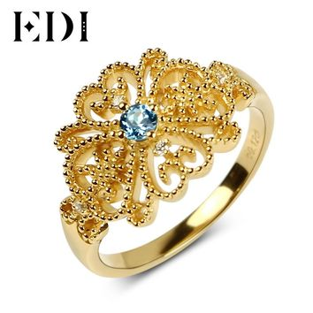 EDI European Royal Topaz Diamond Engagement Ring For Women Vintage Blue Gemstone Wedding Ring in Solid 14K Yellow Gold Jewelry