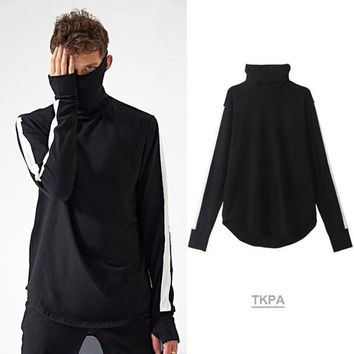 TKPA Vintage Vogue Apparel Mens Turtleneck Tshirts Spring Autumn Tops Casual Bottoming High Street Tees Long Sleeved Longline Curved