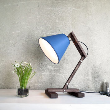 Desk lamp Kran Plat black - wooden desk table working lamp gift unique style lighting boutique paladim handmade simple design minimalist