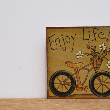 Wood Sign Bicycle Art Wooden Sign Country Home Decor Hand Painted Wood Sign Enjoy Life Wood Block Sign Country Rustic Home Decor Wooden Sign