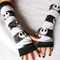 Halloween Fingerless Gloves: Skulls, Jack Skellington, Arm Warmers,  Nightmare Before Christmas, Halloween, Teen, Tween, Tim Burton