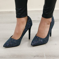 Model Size 7 All That Sparkles Black Glitter Pumps