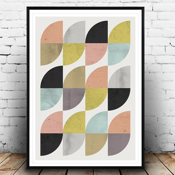 Abstract wall art, mid century modern, colorful pattern print, geometric print, abstract poster, modern decor, home art, textured art,