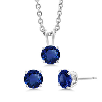 3-Piece Set: 3 Ct Total Weight Blue Sapphire Zirconia Necklace Earrings Set 18""