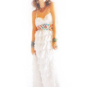 La Mar Serena bohemian Eco wedding fiesta ruffled romantic Mexican Maxi dress organic cotton