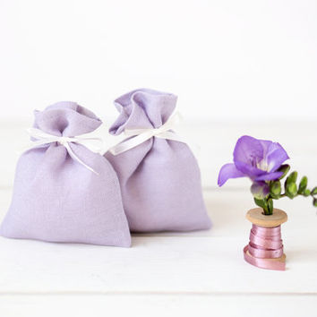 Linen favor bags set 10 - Wedding favor bags - levander gift bags - purple gift bags - pastel favor bags - fabric candy bags - small pouches