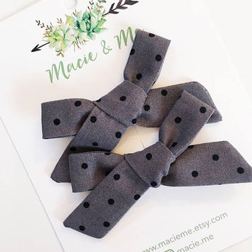 Grey with Black Polka Dot Bows  / The Cora Bow