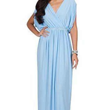 KOH KOH Womens Long Dolman Sleeve Wrap VNeck Cocktail Bridesmaid Maxi Dress