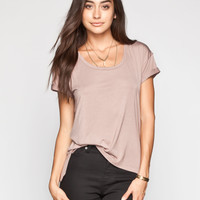LIFE CLOTHING CO. Step Hem Womens Roll Cuff Tee 248357413 | Knit Tops & Tees