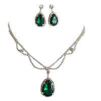 Emerald Green Statement Teardrop Bridal Bridesmaid Necklace Earring Set Silver Tone