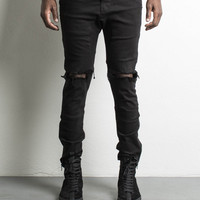 low crotch ripped skinny jean / black